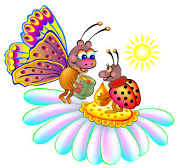 Two insects sitting on a flower, vector cartoon image.