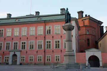 Stockholm, statue de Birger Jarl près du palais Stenbockska, Suède