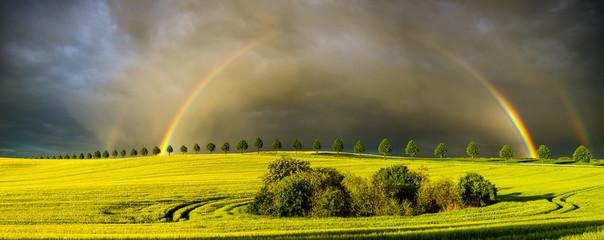 Fototapeta podwójna tęcza po przejściu burzy