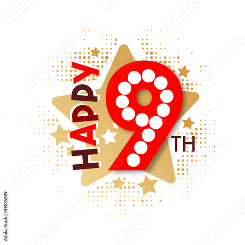 """Happy 9th Birthday"" Stock Image And Royalty-free Vector"