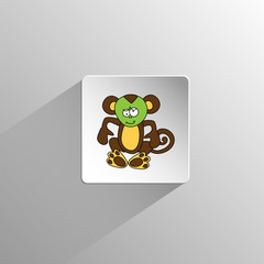 cute colored monkey icon