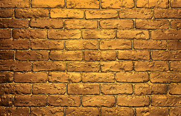 golden brick wall background