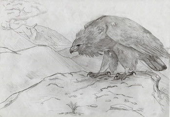 Figure golden eagle in the mountains