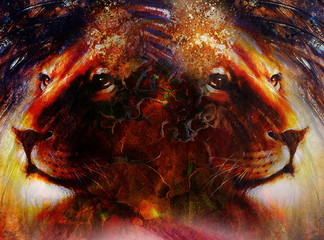 portrait lion face, profile portrait, on colorful abstract feather pattern background. Abstract color collage with spots