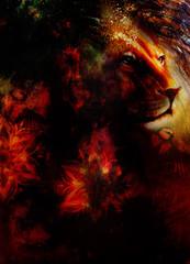 lion head with bird, light effect and ornamental mandala. profile portrait.