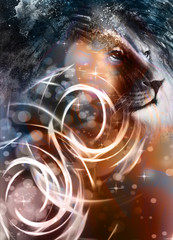 lion head with a majestically peaceful expression, light effect. profile portrait.