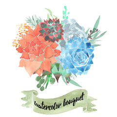 Bouquet composed of the elements of succulents and other plants,