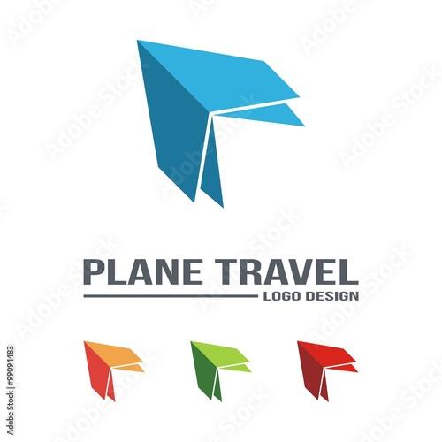 Airplane Icon Travel Logo Origami Design Vector