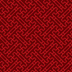 Seamless background image of Chinese window tracery square spiral cross geometry pattern.
