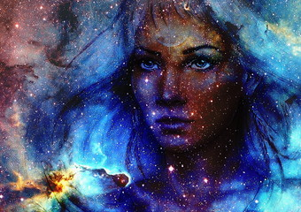 Beautiful Painting Goddess Woman and  Color space background with stars.