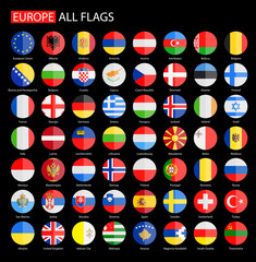 Flat Round Flags of Europe on Black Background - Full Vector Collection. Vector Set of Round European Flags.
