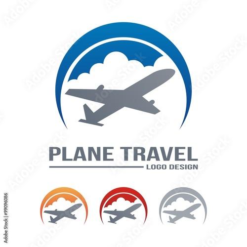 """""""Airplane Logo, Travel Logo, Cloud, Circle Design Logo ..."""