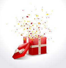 Opened Red Gift Box with ribbon and flying Confetti. Christmas SALE Background. Vector Illustration.