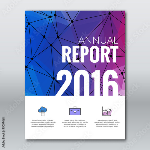 Cover Annual Report Business Colorful Triangle Polygonal Geometric ...