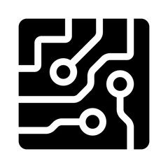 Circuit board semiconductors flat icon for apps and websites