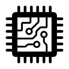 Computer chip circuit board flat icon for apps and websites