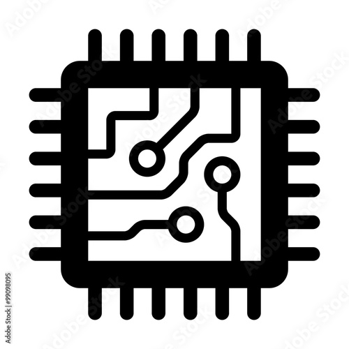 """Computer chip circuit board flat icon for apps and ..."