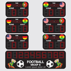 Scoreboard Football Tournament Vector Illustration.
