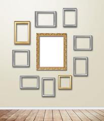 Golden wood Frame decor on wallpaper with light flare.