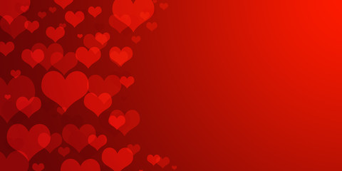 red hearts bokeh as background for card