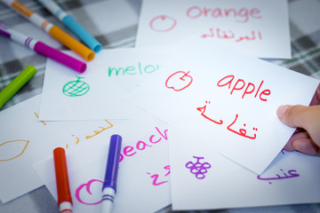 Arabic; Learning New Language with Fruits Name Flash Cards
