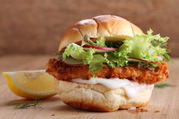 crispy fish burger.