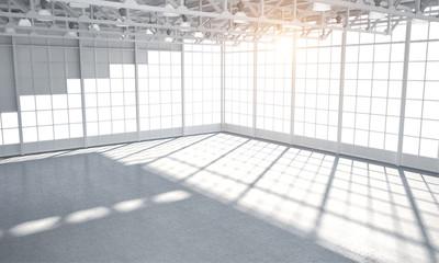 Warehouse sun lit bright empty clean