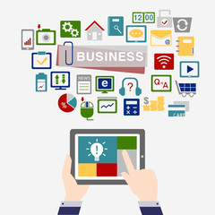 business concept icon background with tablet