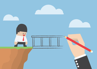 Big hand drawing a bridge for help businessman to cross abyss