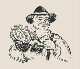 farmer and fresh vegetables. sketch. vector illustration
