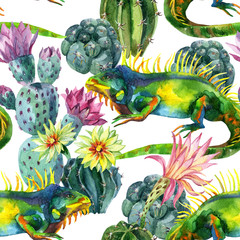 Fotobehang Aquarel Natuur Watercolor seamless cactus pattern