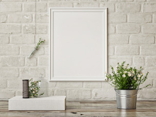 Mock up poster, interior composition,white  brick wall, flowers,  white poster, 3d render