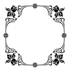 Elegant silhouette frame in art nouveau style