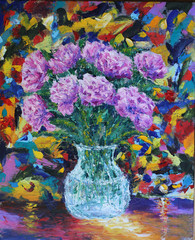 flowers in a vase oil painting