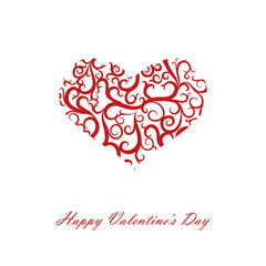 heart with patterns on Valentine's Day, vector