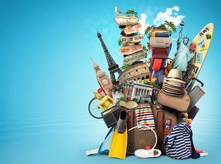 Luggage, goods for holidays, leisure and travel Fotobehang