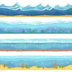 Water waves  or ocean, sea seamless vector backgrounds set for ui game design in cartoon style. Graphic  Interface.  Nature storm illustration