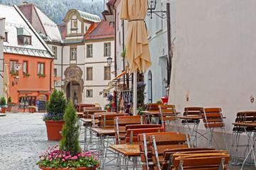 Foto op Canvas Illustratie Parijs Beautiful colorful houses in Fussen, Bavaria, Germany