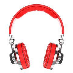 Red Hi-Fi professional headphones isolated on white background 3