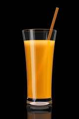 Glass of orange juice on black background 3d