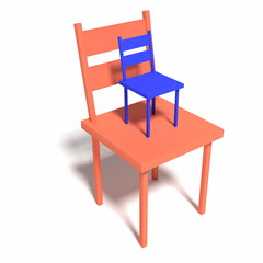 two chairs  - rendered 3D-Illustration