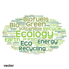 Vector conceptual ecology word cloud isolated