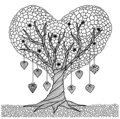 hand drawn love tree for coloring book for adult and other decorations for valentines day - Valentine Coloring Pages For Adults
