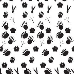 Monochrome pattern footprints various mammals