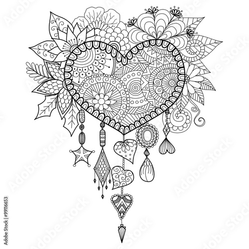 u0026quot hand drawn heart shape floral dream catcher for coloring