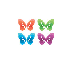 4 colored butterfly logotype design