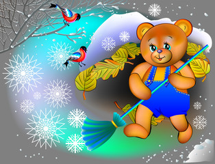 Little bear is swiping snow from his burrow, vector cartoon image.