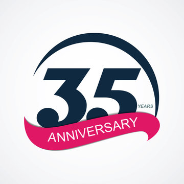 Template Logo 35 Anniversary Vector Illustration