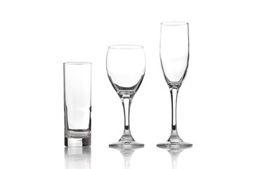 Empty glasses isolated