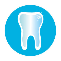 Tooth icon in a blue circle.